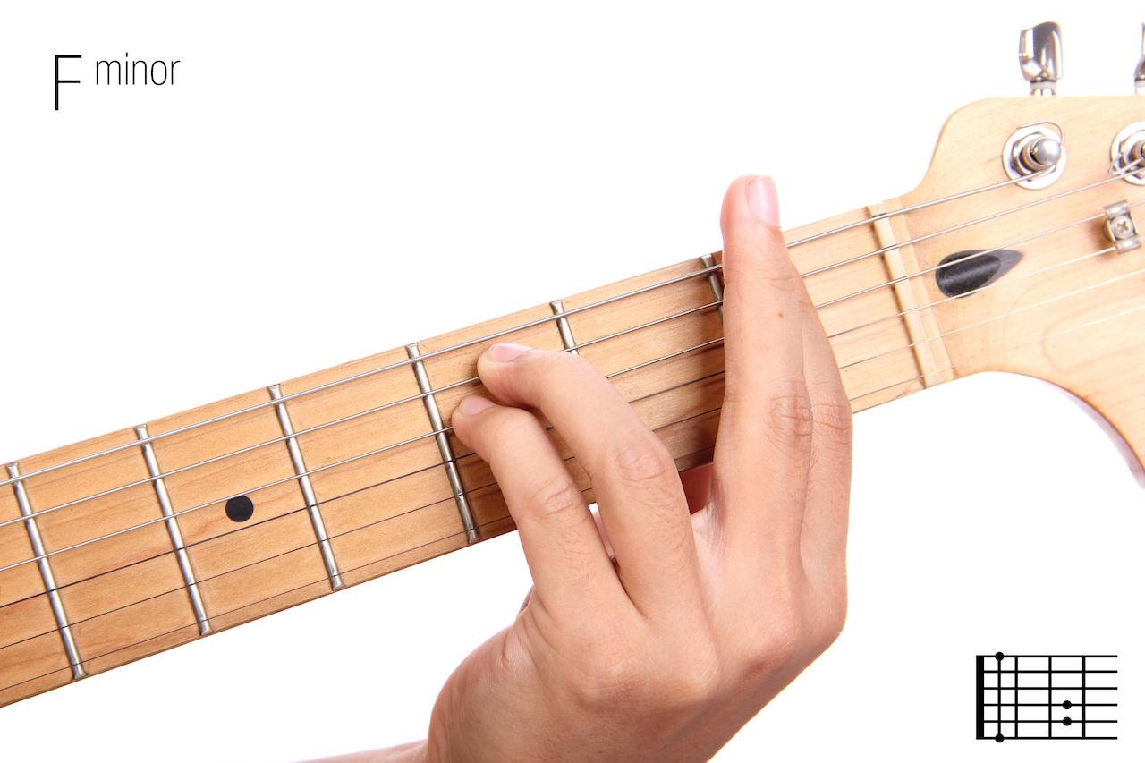 Der f Moll Akkord auf der Gitarre Akkordformen, Tonleiter, Songs ...