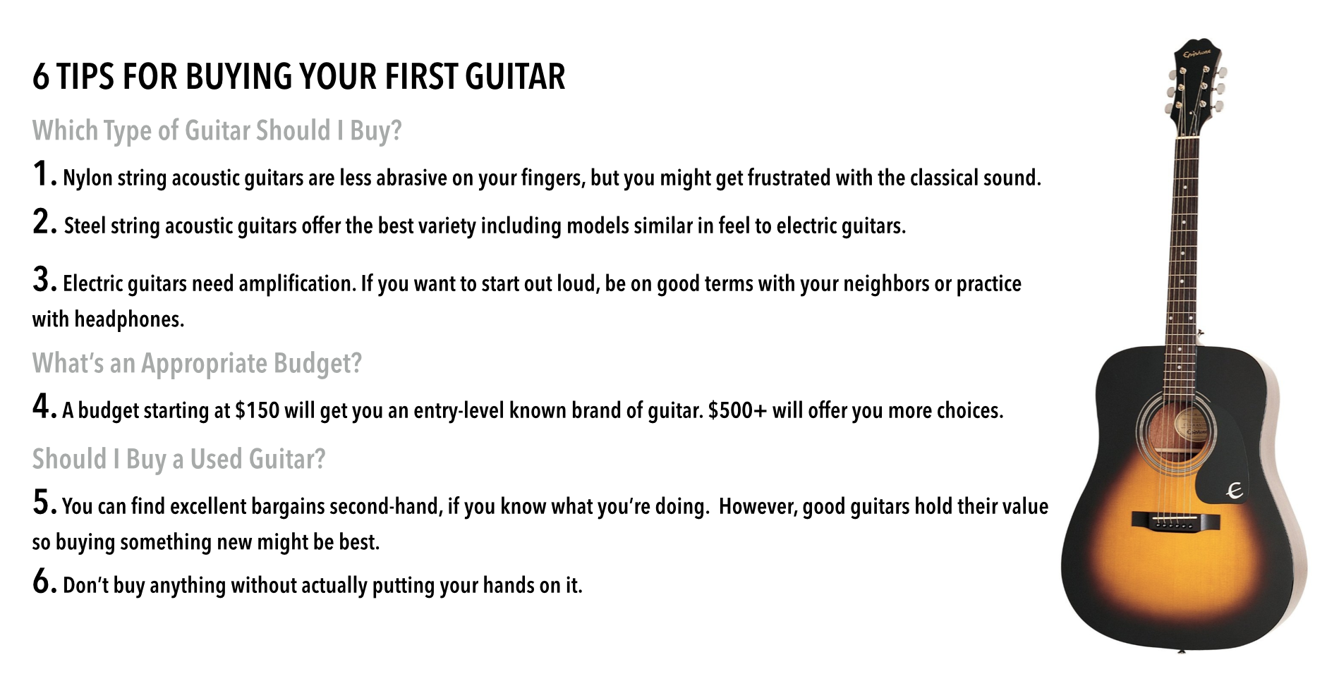 types of guitars beginners guide to buying a guitar rh uberchord com Beginner Guitar Scales Beginner Acoustic Guitar
